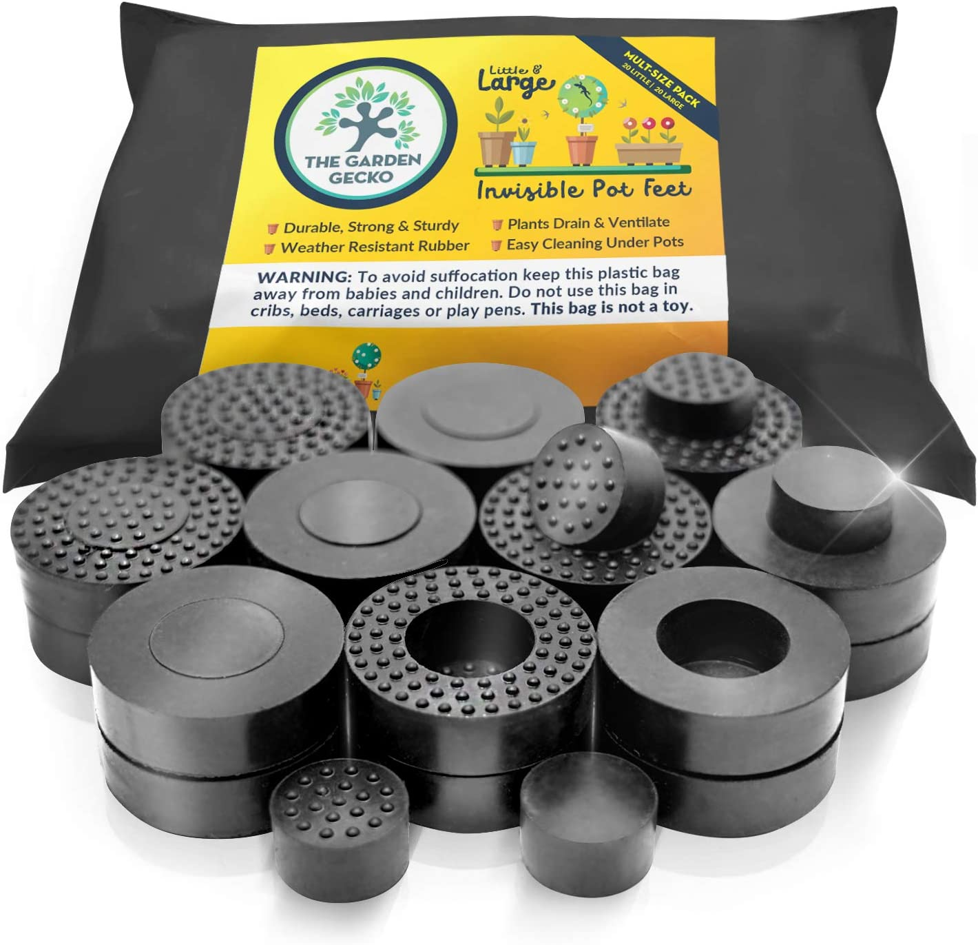 The Garden Gecko Little & Large Invisible Pot feet for outdoor plant pots and flowers | A plant caddy with floor grip | 20 PACK dual size
