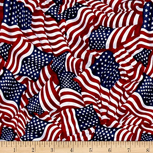 Fabri-Quilt American Pride Wavy Flag Fabric, Bright, Fabric By The Yard -