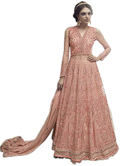 d3e7f0565 Shoppingover Indian Designer Heavy Embroidery Bridal Party wear Dress-Peach  Color  Amazon.co.uk  Clothing
