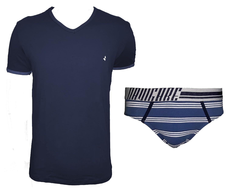 completo intimo uomo t-shirt scollo a V + slip NAVIGARE cotone elasticizzato art. 11563