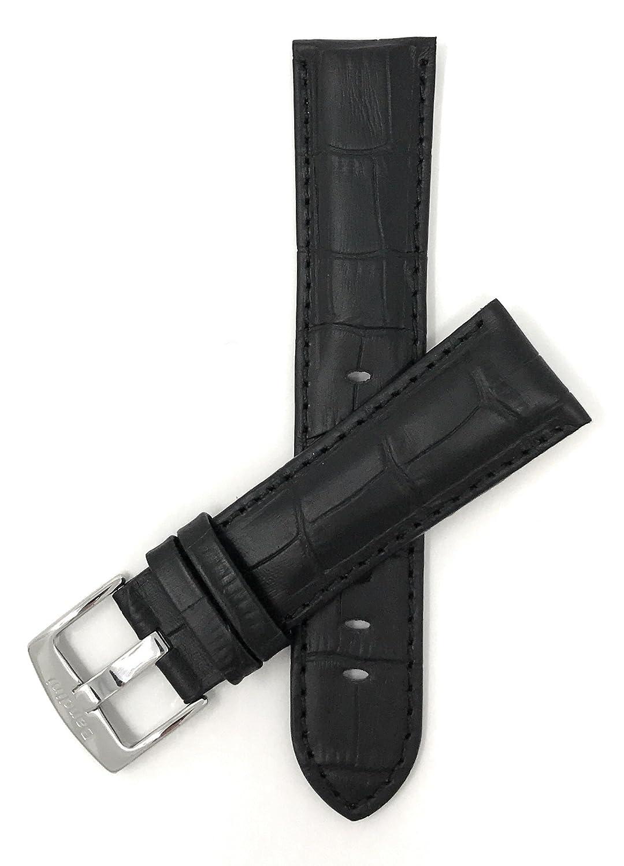 18 mm – 26 mm Mens ' Alligatorスタイル本革時計ストラップバンド、Comes inブラック、ブラウン、ブルー、レッド、タンとダークタン 24MM ブラック 24MM|ブラック ブラック 24MM B01B2HPW9I