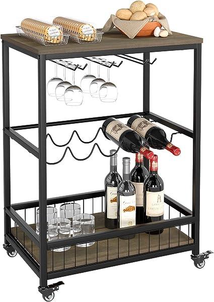 Marrone HOMECHO Carrello da Cucina con Ruote Carrello di Servizio con 3 Piani Mobile Portabottiglie Vino e Calici per Cucina e Soggiorno 90 x 40 x 95 cm