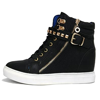31dbfb9cf4fc3 Women s Black Gold Rock Studded Strap Buckle Zip High Top Sneakers Lady  Ankle Trainers Boots (