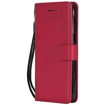 DENDICO Funda Galaxy A5 2017, Flip Libro Cuero Carcasa, Diseño Clásico Funda Plegable Cover para Samsung Galaxy A5 2017 - Rojo