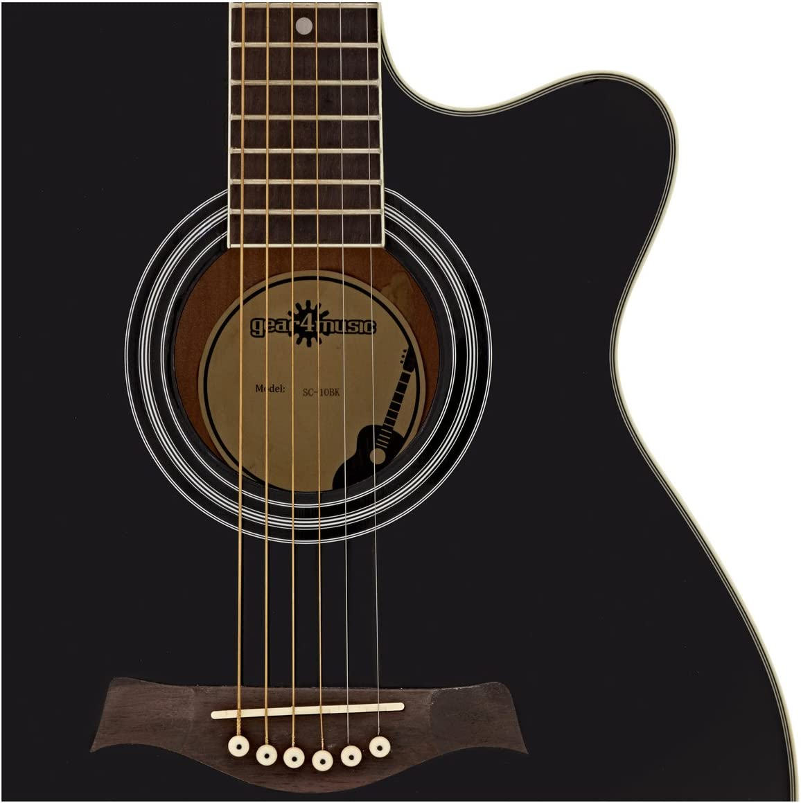 Pack de Guitarra Acustica Single Cutaway de Gear4music - Negro ...