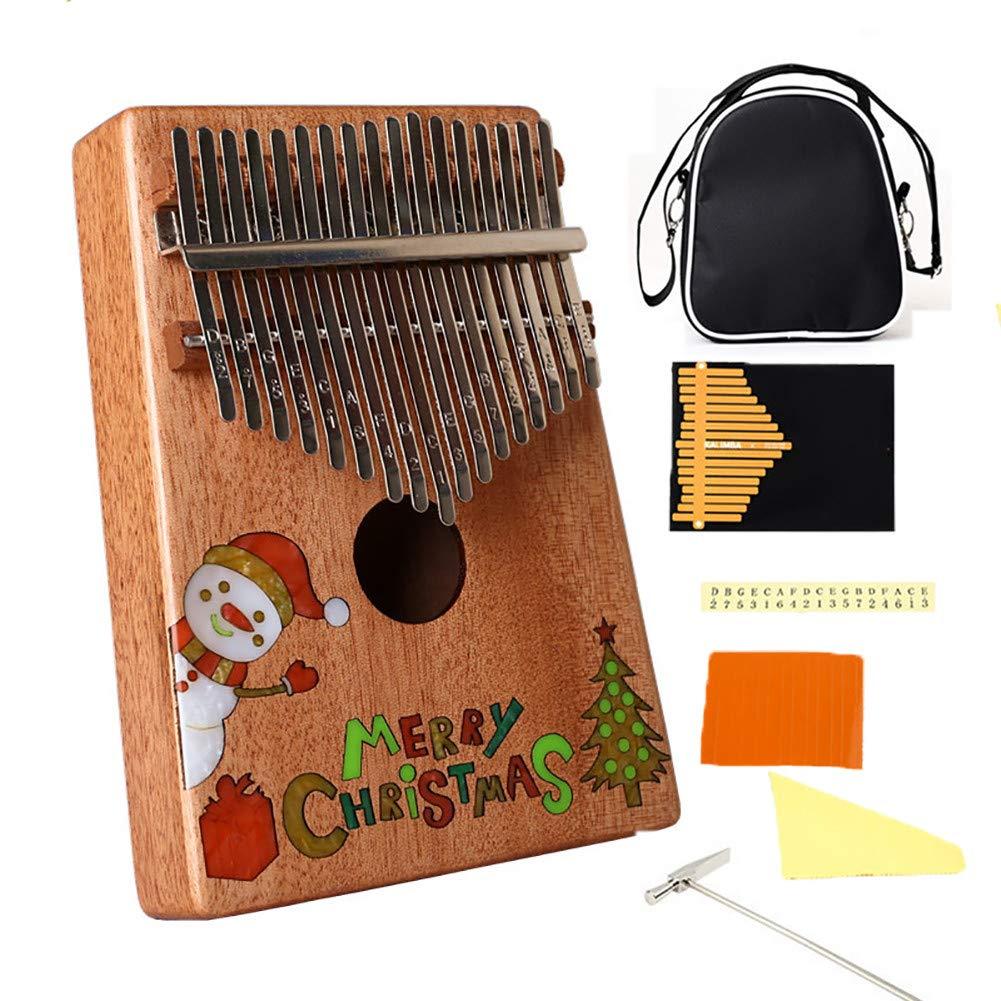 Yajun 17 Keys Kalimba Thumb Pianos Portable Marimbas Christmas Pattern Lightweight Mahogany Child Beginner Music Instrument by Yajun