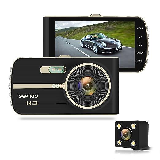 Cámara de Coche, GEARGO Dashcam Full HD 1080P Dual Lens Cámara para Coche G- Sensor Detección de Movimiento Grabación en Bucle con Visión Noctura WDR 4