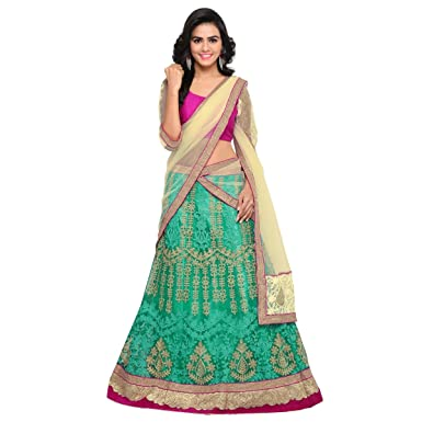 0c8932702b Image Unavailable. Image not available for. Color: Triveni Women's Indian  Pink Faux Georgette Embroidered Lehenga Choli