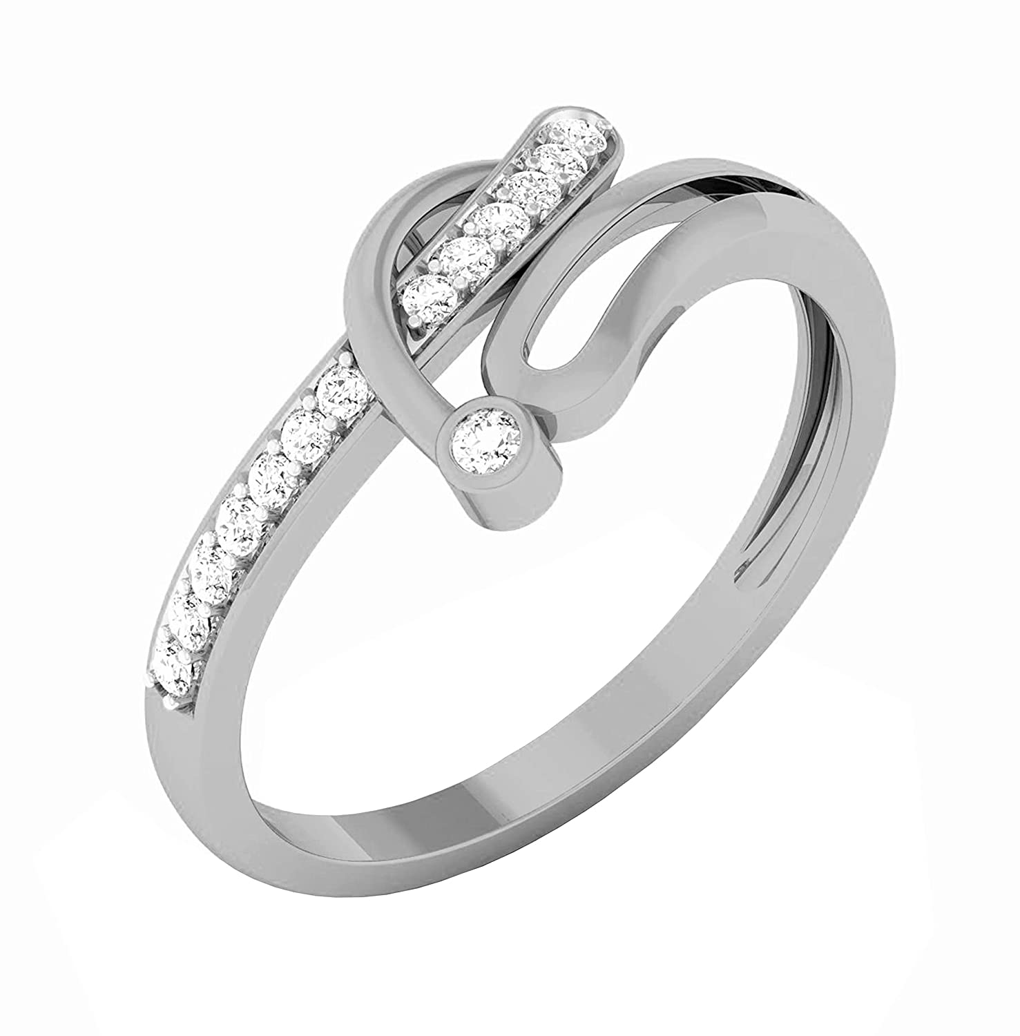 Triostar 925 Sterling Silver Simulated Diamond Studded 14K White Gold Plated Wedding Anniversary Ring Jewelry