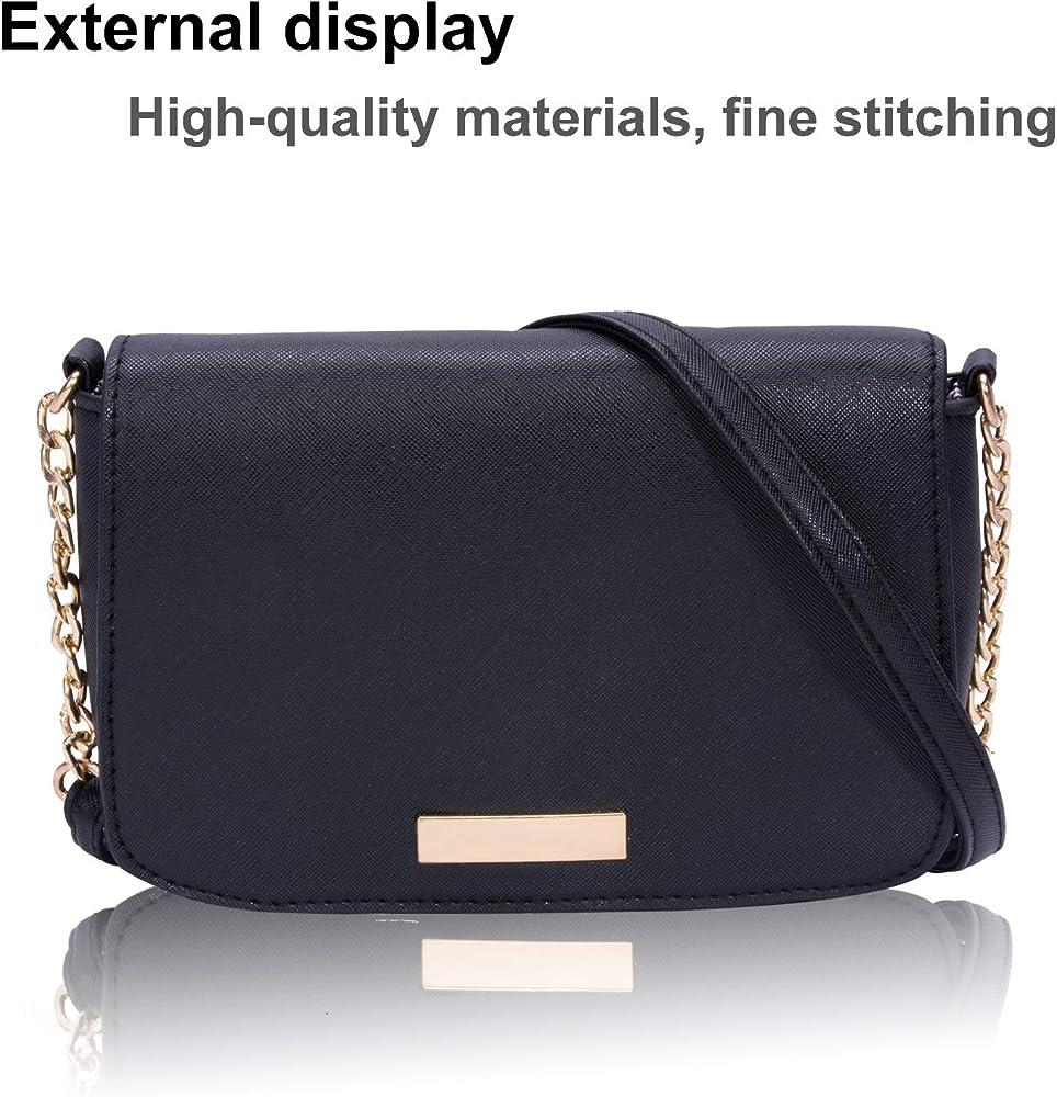 Women PU Leather Shoulder Bag Handbag Crossbody Tote Metal Chain Messenger Purse