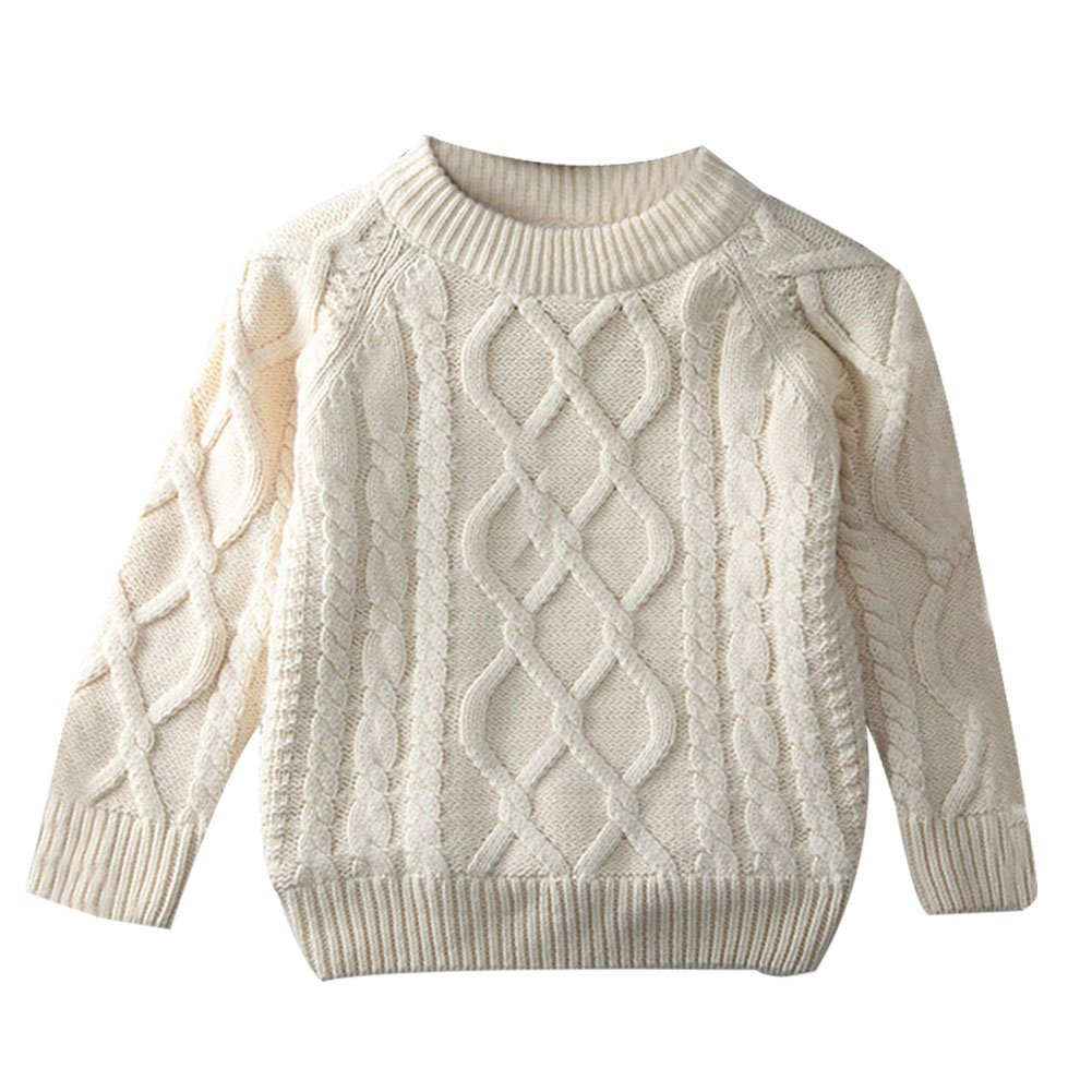 Toddler Baby Boy Girl Cable Knit Pullover Sweater Warm Sweatshirt white 100 by LOSORN ZPY