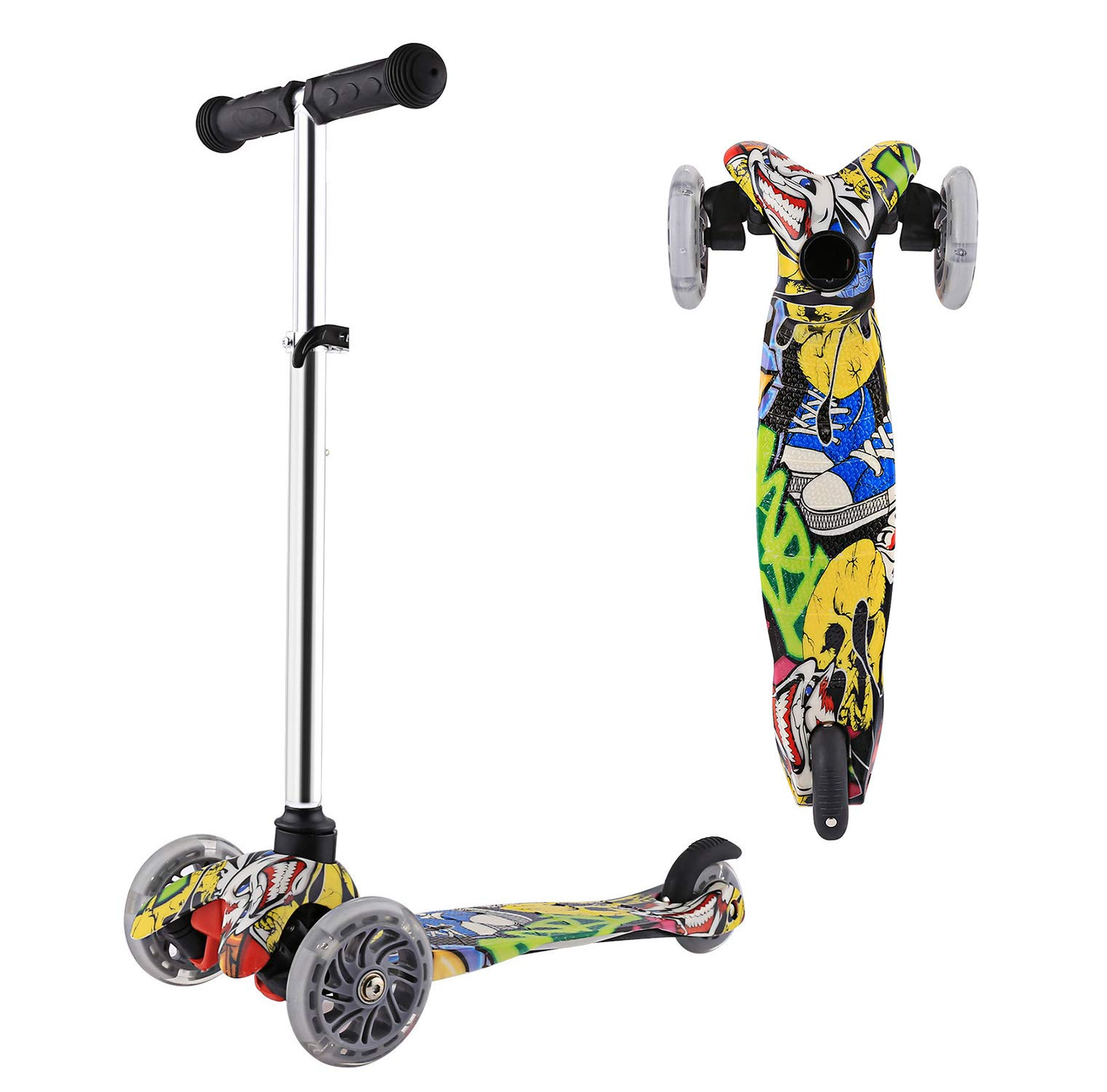 Scooter for Kids 3 Wheel Toddler Scooter with LED Light, Height Adjustable Kids Scooter for Boys Girls Age 2-8 Years Old by YUEBO