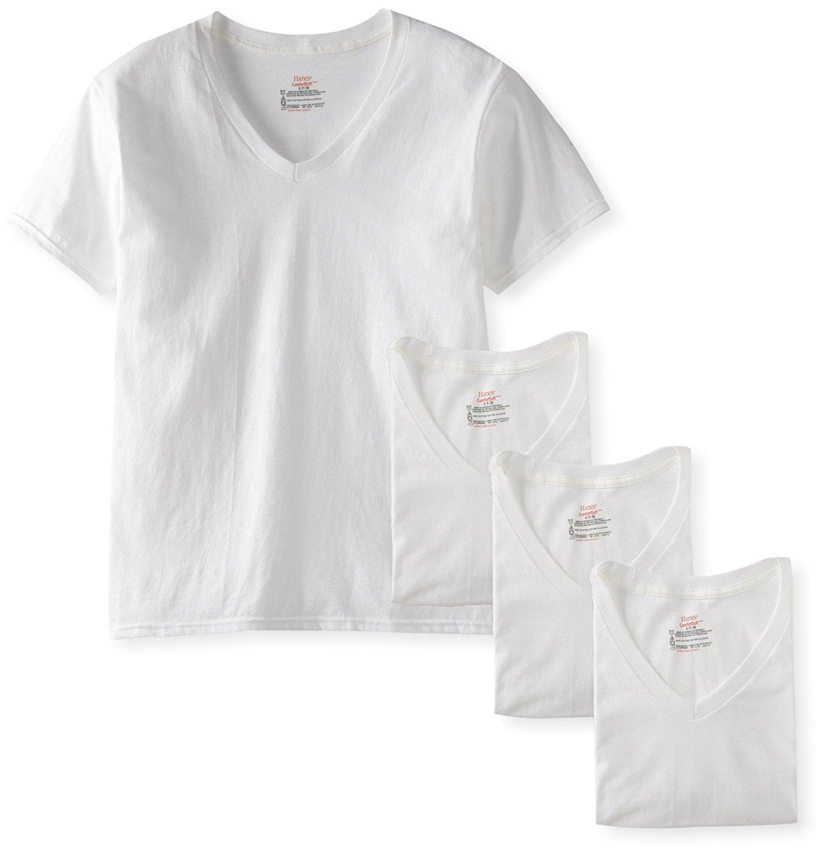 Hanes Men's 4-Pack FreshIQ Assorted V-Neck (Large, White)