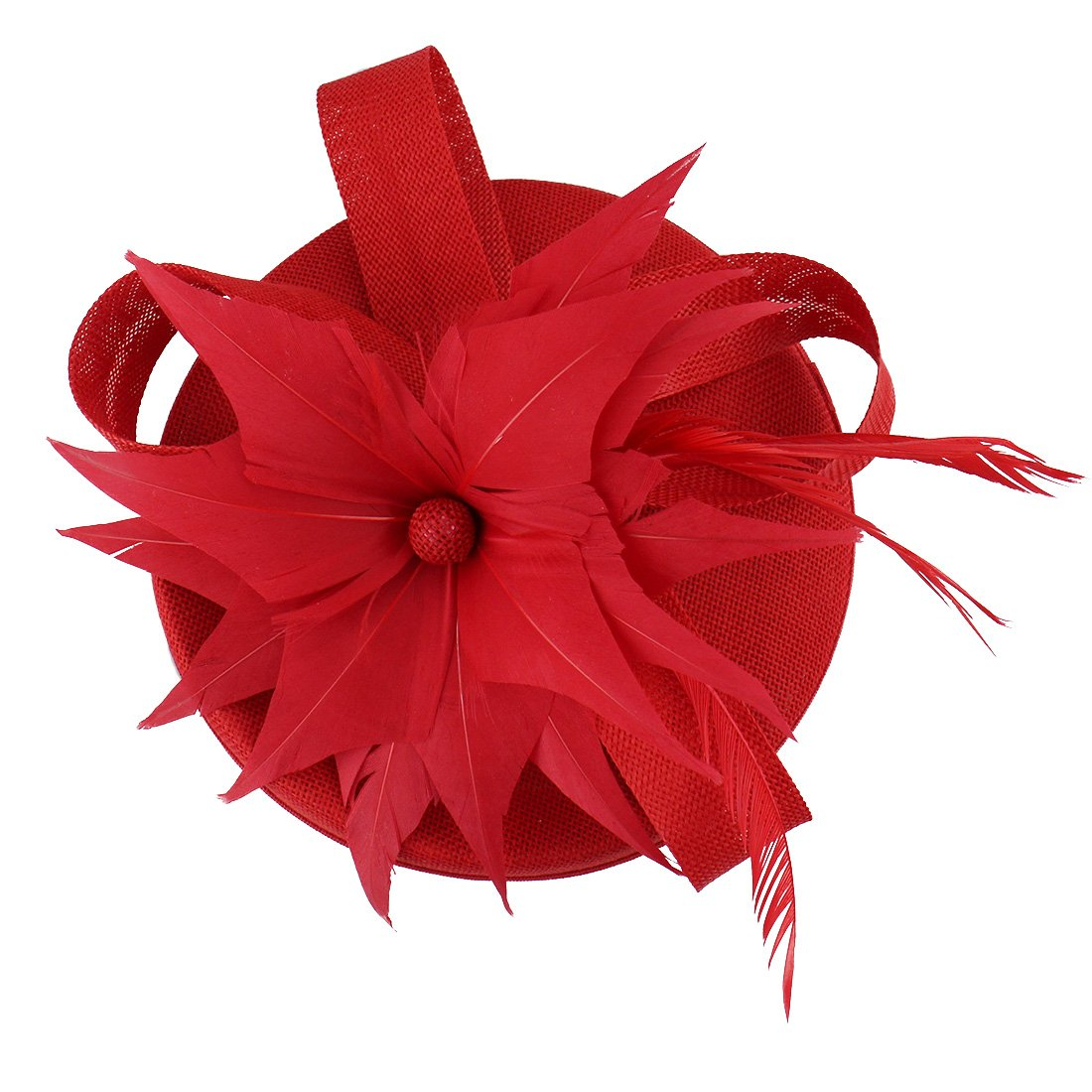 HOLDOOR Fascinator Feather Fascinators for Women Pillbox Hat for Wedding Party Derby Royal Banquet 18035409RED