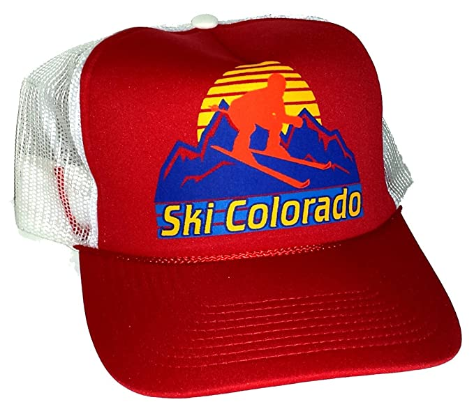 Image Unavailable. Image not available for. Color  Ski Colorado Snapback  Mesh Trucker Hat Cap Skiing Red 6d7fcb74e36e
