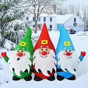 GOOSH 7Foot Length Christmas Inflatable Blow up Three Santa Claus Holiday Yard Decoration, Indoor Outdoor Garden Inflatables Christmas Decorations.