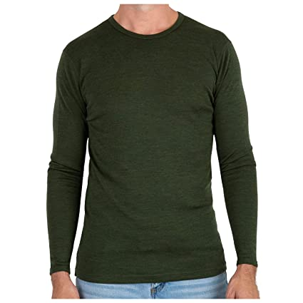 fc190c7406a9 MERIWOOL Men s Merino Wool Midweight Baselayer Crew - Army Green Small