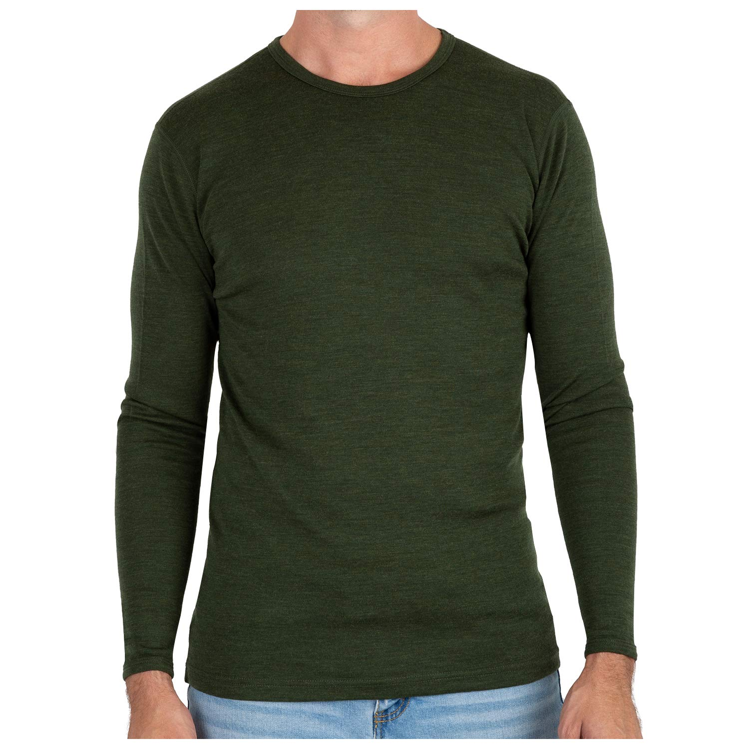 MERIWOOL Men's Merino Wool Midweight Baselayer Crew - Army Green/Small