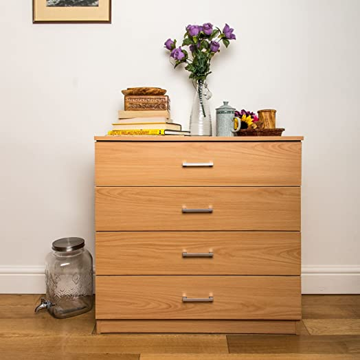 Home Treats Beech Chest Of 4 Drawers Bedroom Furniture. Anti ...