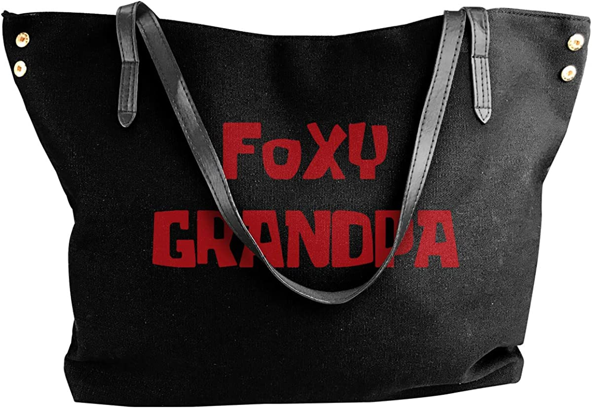 Foxy Grandpa Canvas Shoulder Bag HandbagDaily For Womens Black