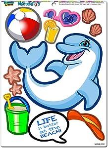 Dolphin at the Beach Dress-Up - Ocean Summer Novelty Gift Locker Refrigerator Locker Vinyl Magnet Set