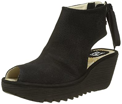 a645c91343d6  Fly London Ypul799fly Black Womens Leather Wedge Sandals Shoes  Amazon.co. uk  Shoes   Bags