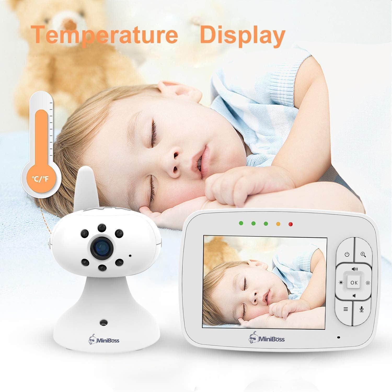 B/éb/é Moniteur LCD Ecran Surveillance B/éb/é COLORWAY Babyphone Vid/éo Cam/éra Sans Fil Rechargeable Vision Nocturne Audio Bidirectionnelle Berceuses Capteur de Temp/érature