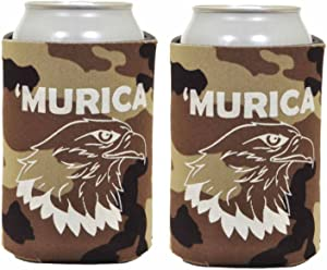 Funny Can Coolie Murica Bald Eagle 2 Pack Can Coolies Tan Camo