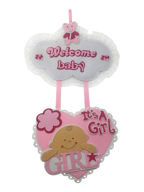 Welcome Baby Its A Girl Hospital Door Hanger