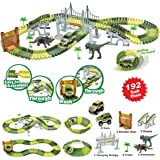EASJOY Slot Car Race Track Sets Jurassic World Dinosaur Car Toys Create a Road with 192 Pieces Flexible Tracks, Perfect Birthday Christmas Children's Day Gift/Present for Boys Girls Toddlers Aged 3+