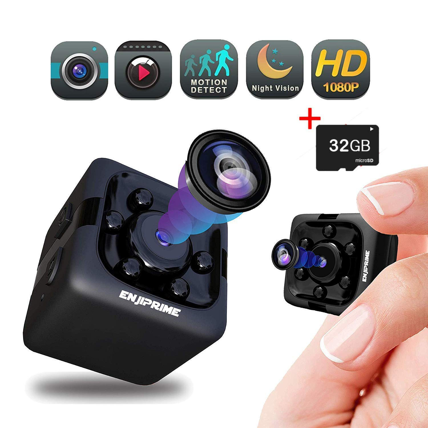 Spy Hidden Camera Nanny Cam - Mini Wireless Cop Cam Action Cameras for Indoor or Outdoor, Home Office or Car Video Recorder with 1080p HD Recording and Night Vision (with 32 GB SD Card) by Enji Prime