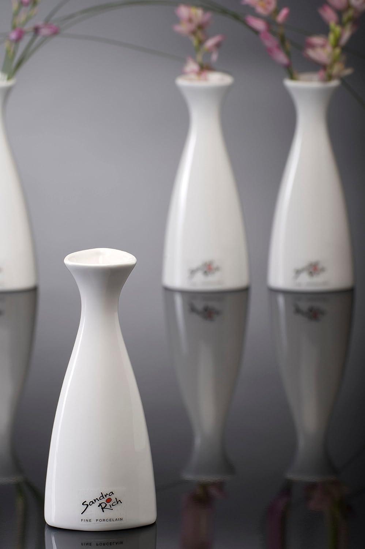 Vaso in porcellana triangolo bianco 14/cm set di 3