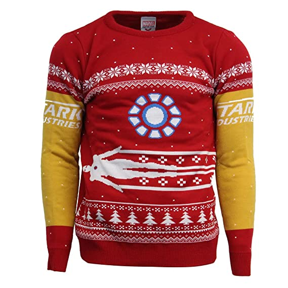 Marvel Official Iron Man Christmas Jumper Ugly Sweater Red Amazon