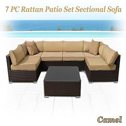 Amazon.com: Fuerte camello 7 piezas mimbre muebles de patio ...