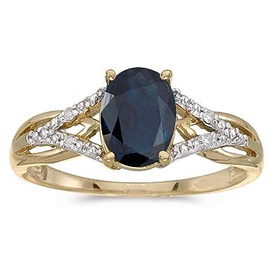 Amazon 14k Yellow Gold Oval Sapphire And Diamond Ring Jewelry