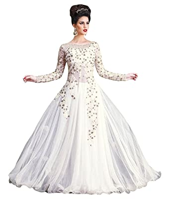 3450ac24c9 Queen Creation Women's Gown Semi-Stitched, White, Free Size: Amazon.in:  Clothing & Accessories