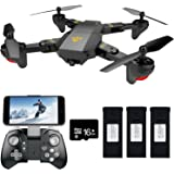 Teeggi FPV RC Drone with Wide-Angle Camera Live Video VR WiFi Foldable Quadcopter for Kids & Beginners with Altitude Hold One Key Start, Return Easy Operation, Bonus Battery with 16G SD Card
