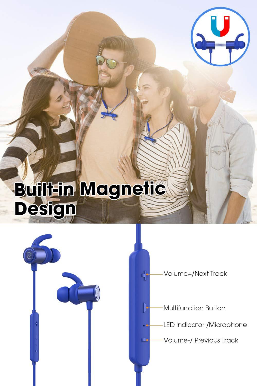 SoundPEATS Bluetooth Earphones, Wireless 4 1 Magnetic Earphones, in
