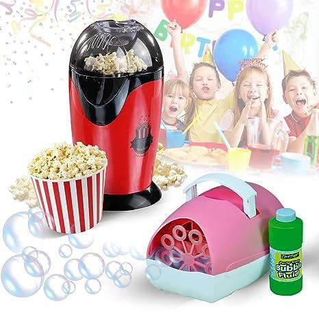 Pack especial para cumpleaños infantil, máquina de burbujas, líquido y palomitero, rosa