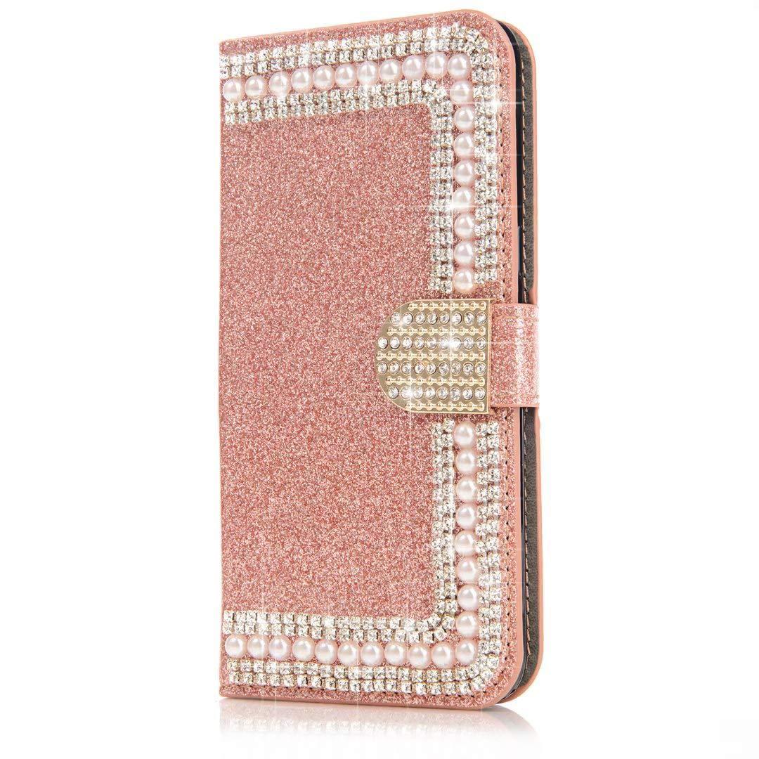 Okssud Custodia Galaxy S7 Edge, Cover Galaxy S7 Edge Portafoglio Nero, Bling Diamante 3D Fiores Farfalla Flip Wallet PU Cover Stand Slot Carte Magnetica Case DYY2018002434#01