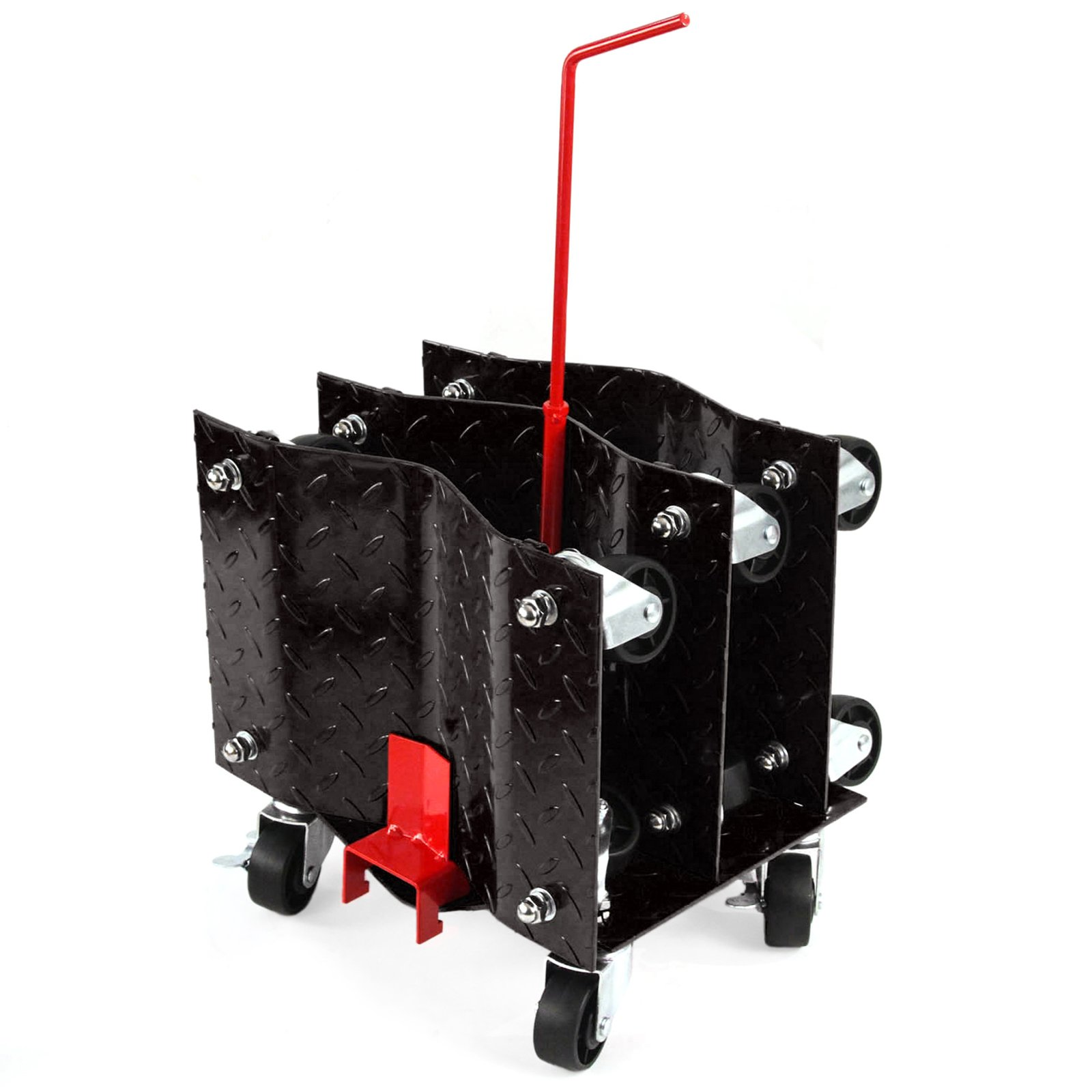 4 - Black with Storage Rack 12 Inches Tire Premium Skates Wheel Car Dolly Ball Bearings Makes Moving a Car Easy by Red Hound Auto