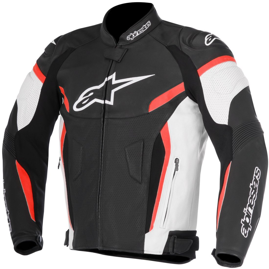 Alpinestars Mens GP Plus R V2 Leather Motorcycle Riding Jacket (54, Black White Red)