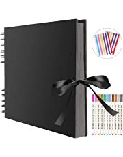 FUNVCE Scrapbook Photo Album 80 Black Pages Memory Books 12 x 9 inch A4 Craft Paper DIY Scrapbooking Photo Albums with 12 Metalic Marker Pens for Anniversary Birthday Friends Childrens Gift