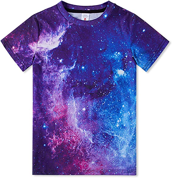 Boys Galaxy Wolf in Space T-Shirt Childrens Short Sleeve Shirt