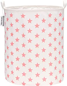 "Sea Team 19.7 Inches Large Sized Waterproof Coating Ramie Cotton Fabric Folding Laundry Hamper Bucket Cylindric Burlap Canvas Storage Basket with Stylish Stars Design (19.7"", Pink Star)"