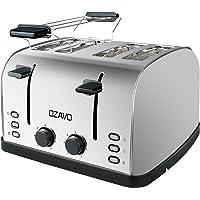 OZAVO Grille-pain 4 fentes, Toaster Multifonction Extra Larges avec Controle de Temperature et Plateau de Miettes Amovible, Acier Inoxydable, 1250-1500W, Sans BPA, Argent