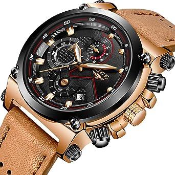 2d02a67649f LIGE Men s Fashion Sport Quartz Watch with Brown Leather Strap Chronograph  Waterproof Auto Date Analog Black