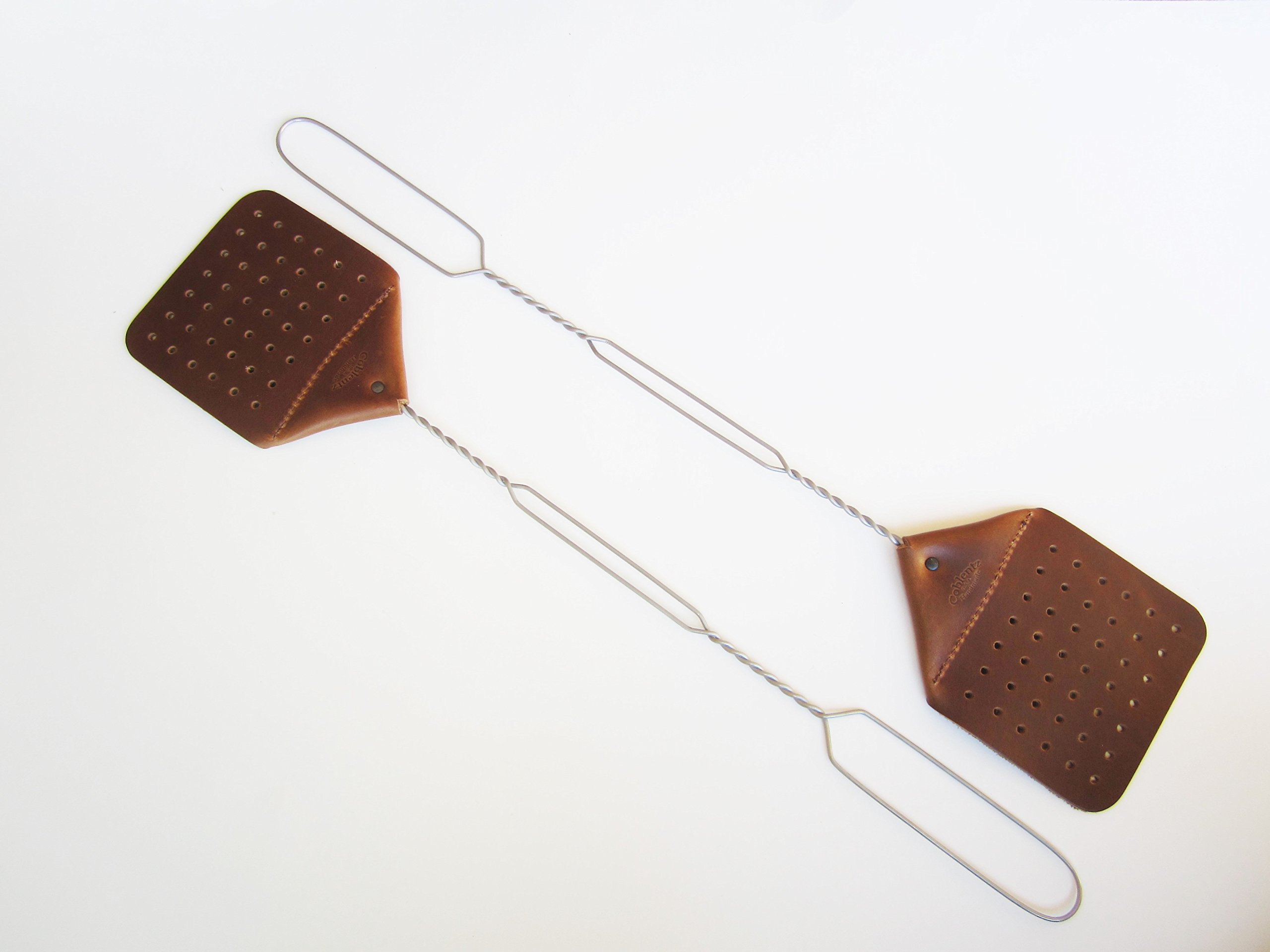 Amish Leather Fly Swatter Brown PACK OF TWO Holmes County Handcrafted Wire Handle (BROWN)