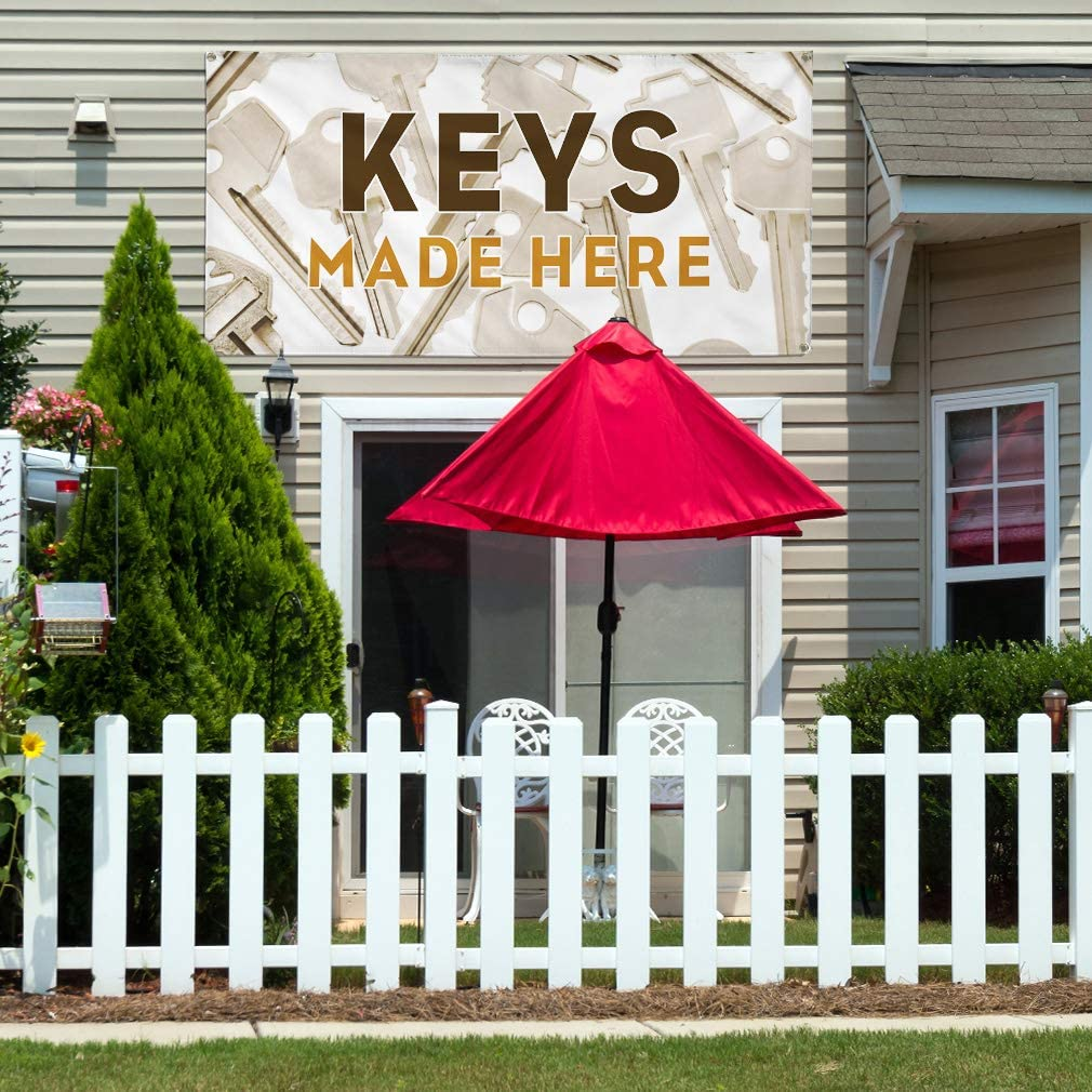 Vinyl Banner Multiple Sizes Keys Made Here A Advertising Printing Business Outdoor Weatherproof Industrial Yard Signs 8 Grommets 48x96Inches