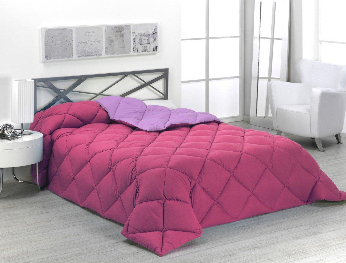 Sabanalia - Edredón nórdico de 400 g reversible (bicolor), para cama de 90/105 cm, color fucsia y lila: Amazon.es: Hogar